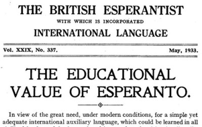 The Educational Value of Esperanto
